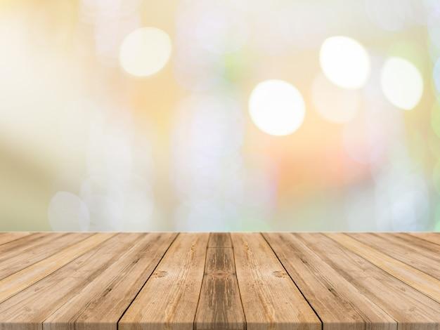 Leerer perspektivenraum mit funkelnder bokeh wand und hölzernem plankenboden