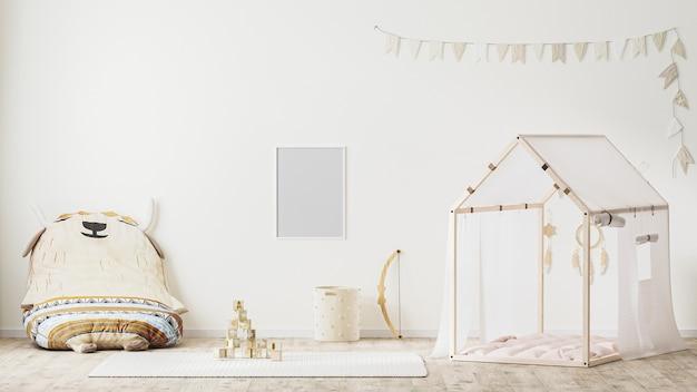Leerer plakatrahmen im kinderspielzimmer-interieur im landhausstil 3d-rendering