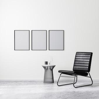 Leerer plakatrahmen in zeitgenössischer innenarchitekturszene mit schwarzem sessel mit couchtisch, weißer wand und betonboden, 3d-rendering
