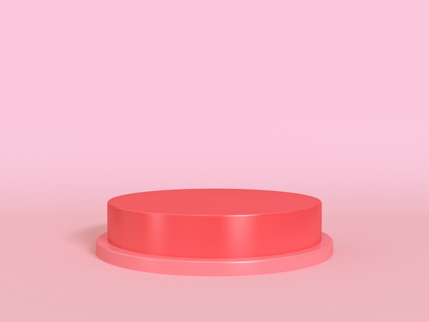 Leerer podiumrotkreis minimales rosa 3d übertragen