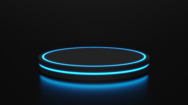 Leerer produktständer mit neonlicht