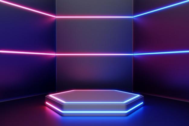 Leerer produktstand mit linie neonlichtern.