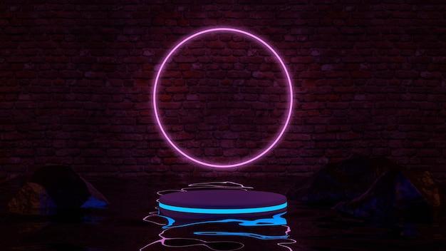 Leerer produktstand mit neonlichtern auf backsteinmauerhintergrund. 3d-rendering