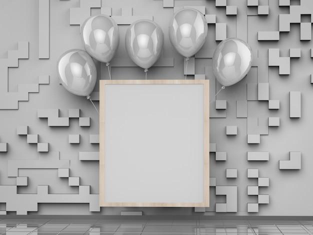 Leerer quadratischer rahmen mit silbernen luftballons auf grauem hintergrund