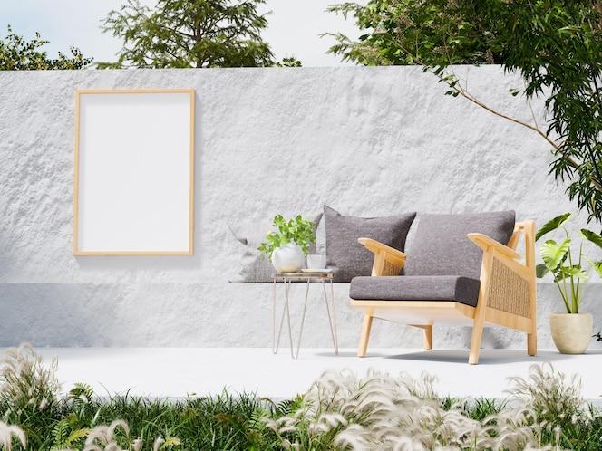 Leerer rahmen an der wand mit betonterrasse für wohnbereich im freien, 3d-rendering