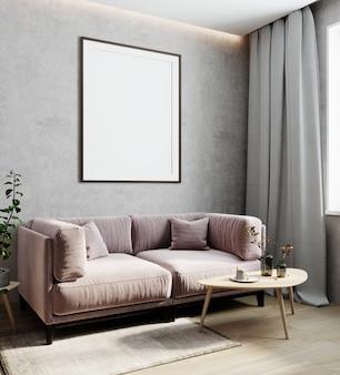 Leerer rahmen auf grauer wand, vertikaler posterrahmen in hellem, modernem innenhintergrund mit rosafarbenem sofa, luxuriösem interieur, 3d-rendering