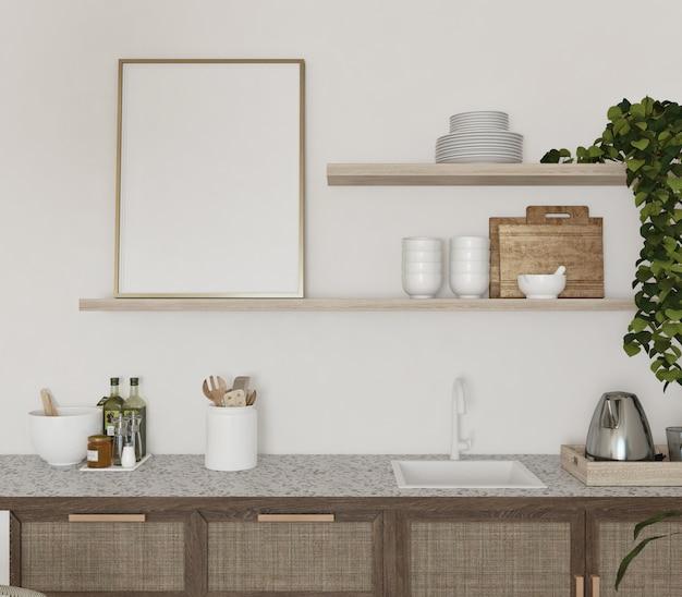Leerer rahmen im regal der küche mit vintage-design