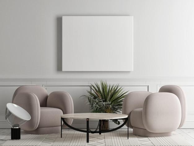 Leerer rahmen im wohnzimmer mit bequemen beigen sesseln und wohnaccessoires