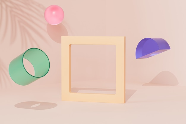 Leerer rahmen in der nähe von geometrischen objekten auf beigem hintergrund mit tropischem blattschatten, minimaler 3d-rendering