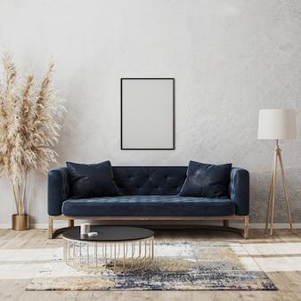 Leerer rahmen modell an der wand im modernen wohnzimmer luxuriöses innendesign mit dunkelblauem sofa
