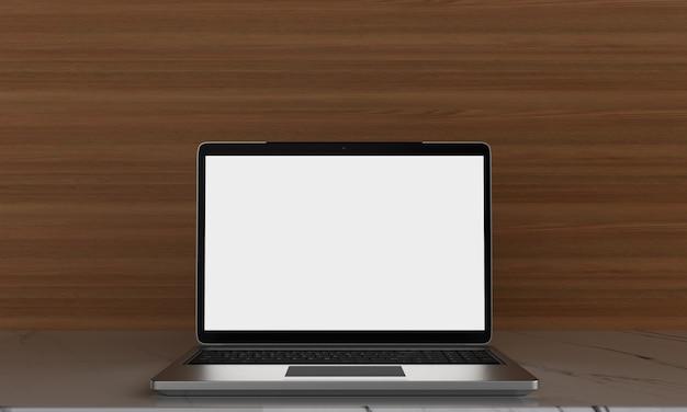 Leerer raum auf hölzernem schreibtisch mit laptop mit leerem weißem schirm, stilvoller arbeitsplatz