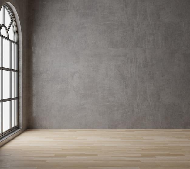 Leerer raum der dachbodenart mit rohem beton, bretterboden, großes fenster