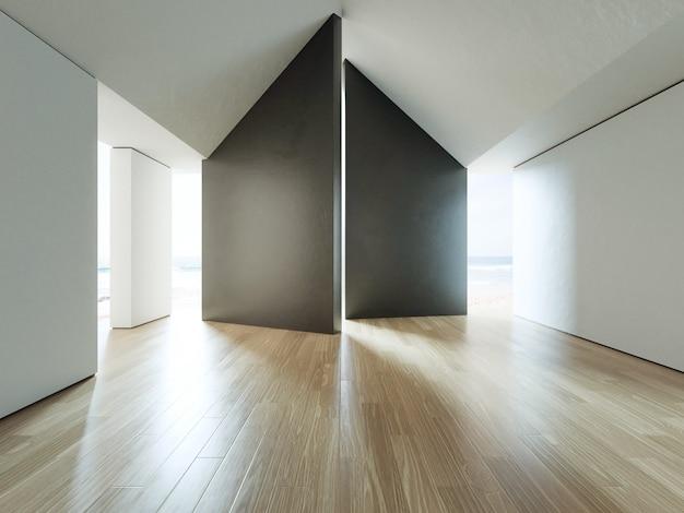 Leerer raum der seeansicht des luxusstrandhauses mit bretterboden.