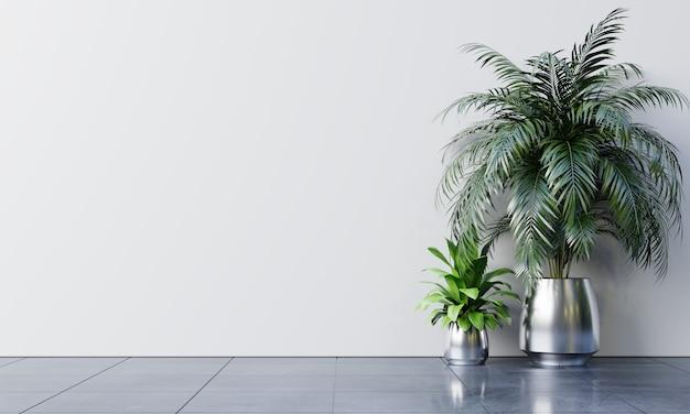 Leerer raum der weißen wand mit pflanzen auf einem boden.