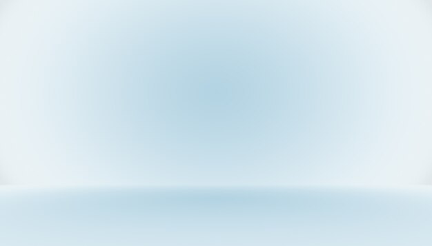 Leerer raum des blauen farbverlaufs abstrakten hintergrundes mit platz für ihren text und ihr bild.