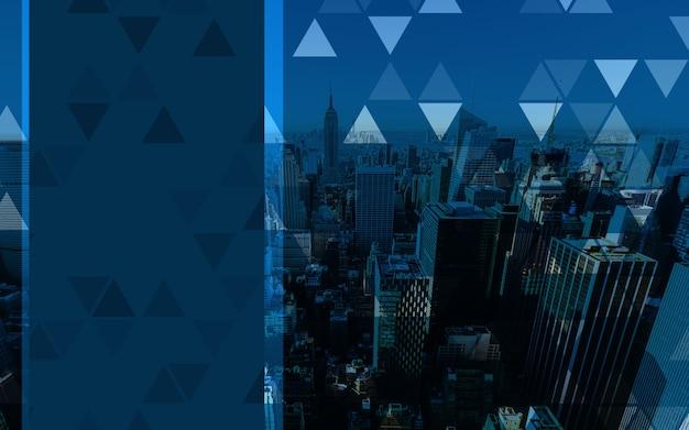 Leerer raum des geschäftshintergrundes mit blauer großstadt enthält auf- und abwärtspfeile