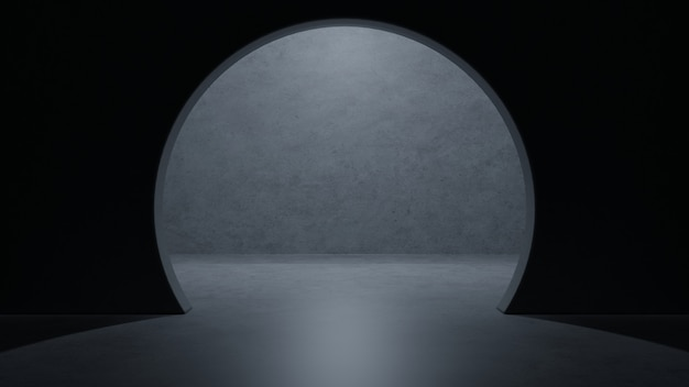 Leerer raum des modernen dunklen konkreten zementraumschiffs des science fiction-raumes eleganten tiefgaragentunnel-korridors.