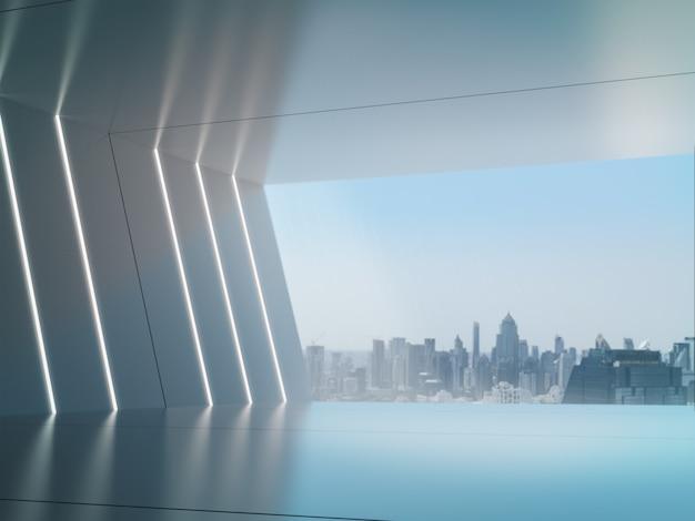 Leerer raum für produktausstellung im futuristischen raum mit stadthintergrund.
