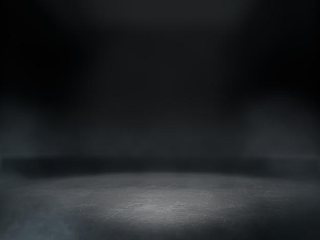Leerer raum für produktausstellung in dunklem raum mit hellem fleck auf hintergrund.