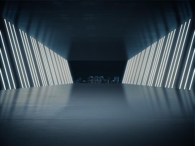 Leerer raum für produktausstellung in langem korridor mit hellem licht.