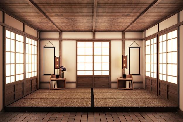 Leerer raum im japanischen stil. 3d-rendering