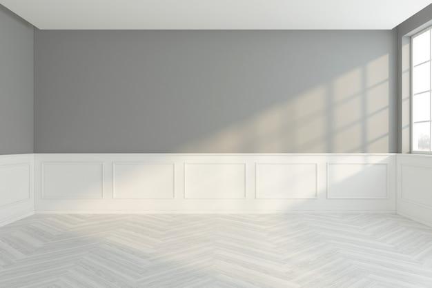 Leerer raum im minimalistischen stil mit grauem und weißem wandgesims, holzboden. 3d-rendering