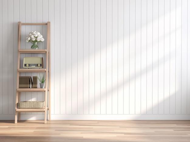 Leerer raum im vintage-stil 3d-render weiße holzplankenwanddekoriert mit holzregalen