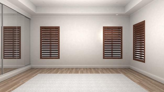 Leerer raum innen holzboden modern und luxuriös. 3d-rendering