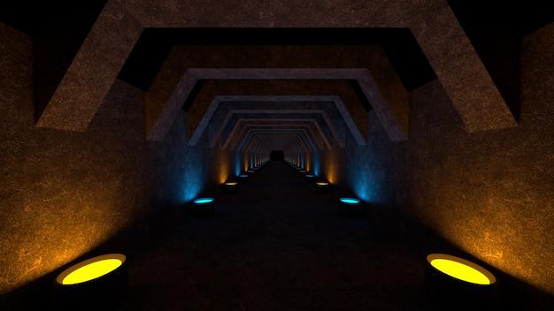 Leerer raum mit betonmauern und lampen an den wänden