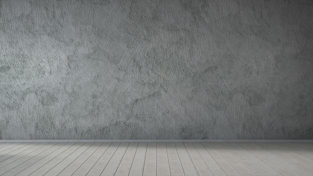 Leerer raum mit betonwand und holzboden, grau. 3d-rendering.