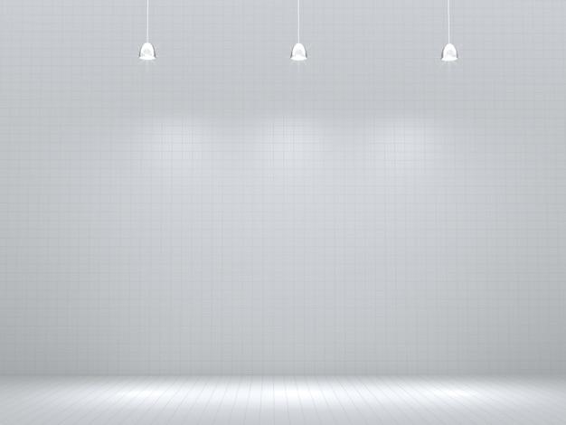 Leerer raum mit dem hellen punkt, leer für produktschaukasten wiedergabe 3d.