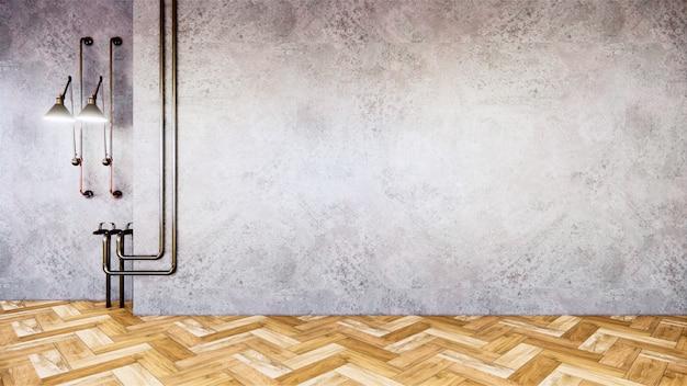 Leerer raum mit grauer betonwand