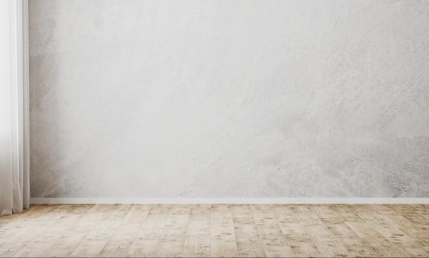 Leerer raum mit grauer dekorativer putzwand und parkettboden