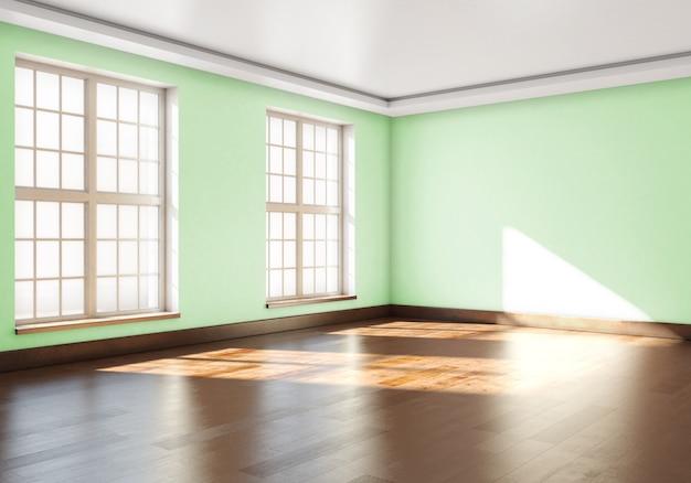 Leerer raum mit grünen wänden und großen fenstern. 3d-rendering.