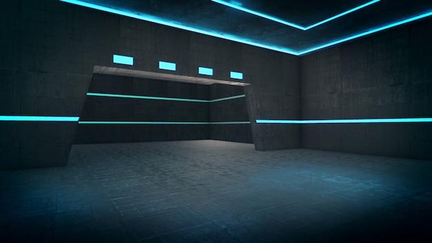 Leerer raum mit hellem licht, abstrakter raum. 3d-rendering