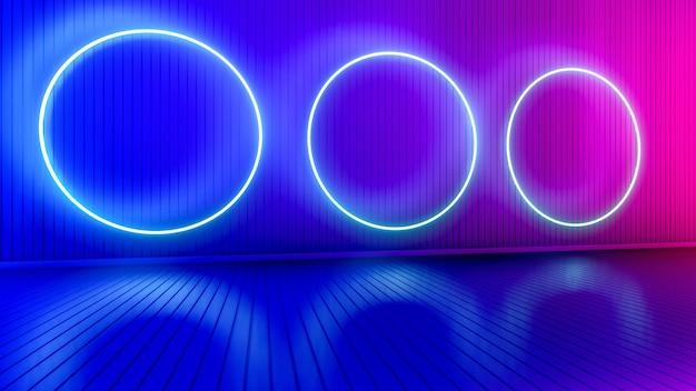 Leerer raum mit leuchtenden linien. innenhintergrund mit leuchtenden linien. neonlichter. 3d-rendering