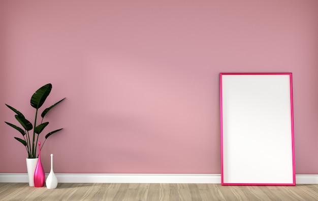 Leerer raum mit rosa rahmen auf massivholzboden und rosa wiedergabe der wand 3d