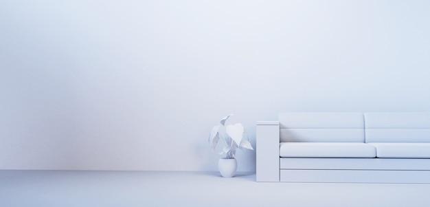 Leerer raum mit stuhlinnenmodell