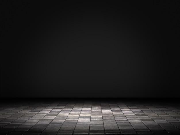 Leerer raum, produktschaufenster im hintergrund. 3d-rendering