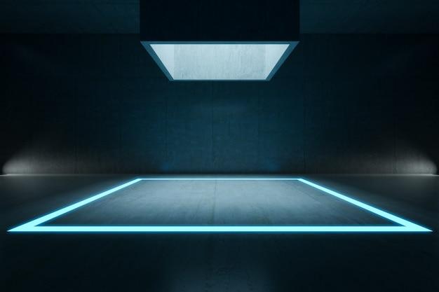 Leerer raum, rechteckiges lichtmodell und betonwand. hintergrund der abstrakten architektur.