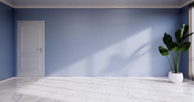 Leerer raum - reinraum, minimalistische innenarchitektur, blaue wand auf granitfliesenboden. 3d-rendering