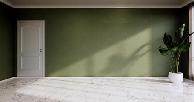 Leerer raum - reinraum, minimalistische innenarchitektur, grüne wand auf granitfliesenboden. 3d-rendering