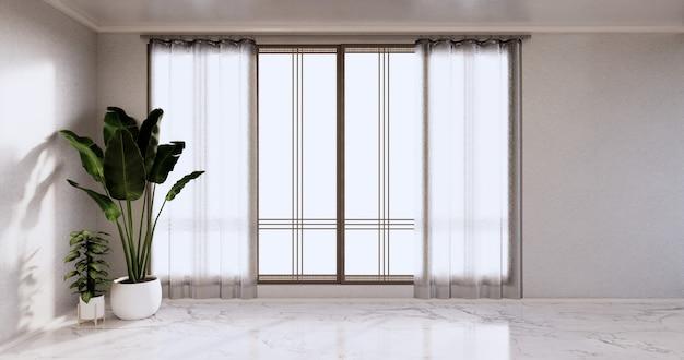 Leerer raum - reinraum, minimalistische innenarchitektur, weiße wand auf granitfliesenboden. 3d-rendering