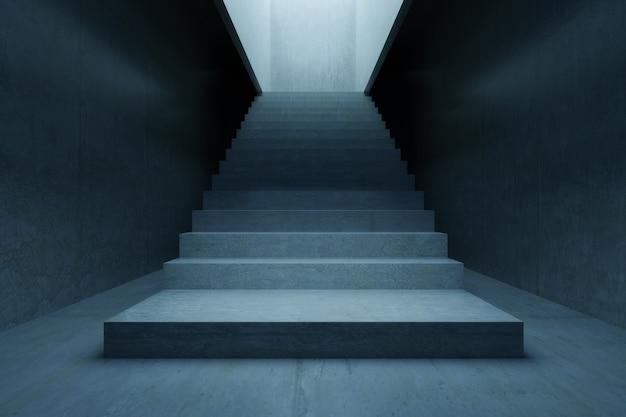 Leerer raum, treppenbeton und betonwand. hintergrund der abstrakten architektur
