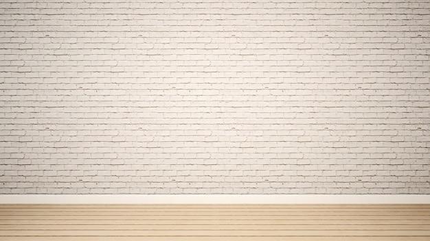 Leerer raum und weiße backsteinmauer in der wohnung oder im haus - 3d übertragen