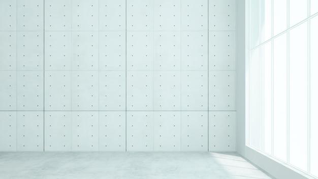 Leerer raumdachboden dekorativer wandbeton in der eigentumswohnung - wiedergabe 3d