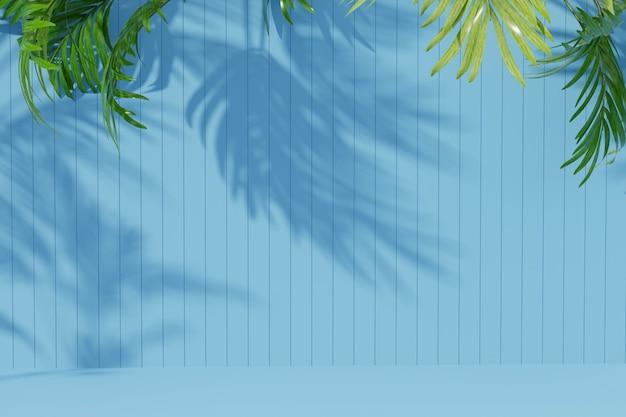Leerer raumhintergrund mit palmblatt und schatten an der wand. 3d rendern.