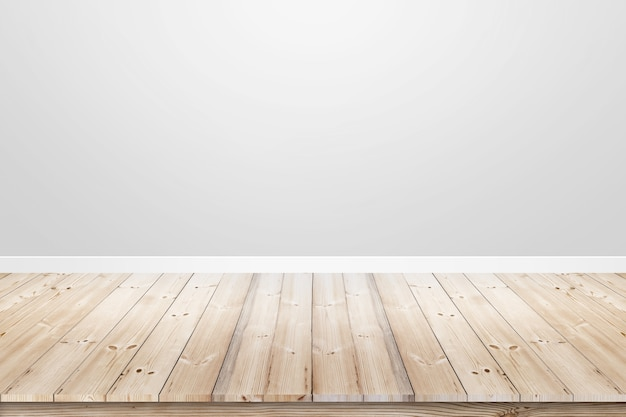 Leerer rauminnenraum mit grauer betonmauer und holzfußboden.
