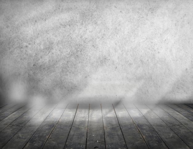 Leerer raumraum für hintergrund mit dem pflasterstein und alter wand