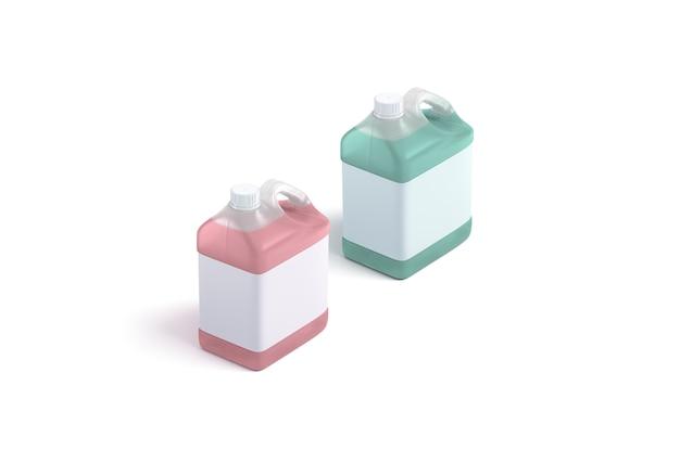 Leerer roter und grüner frostschutzbehälter mit weißem etikettsatz